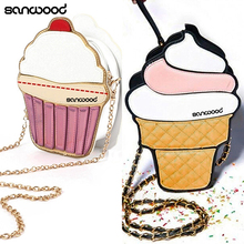 New Arrivals Women Faux Leather Shoulder Bag Mini Ice Cream Cupcake Chain Crossbody Bag