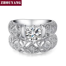 Princess Style Cubic Zirconia Hollow-out Silver Color Ring Sets Jewelry Engagement Wedding Party with Austrian Crystal ZYR563