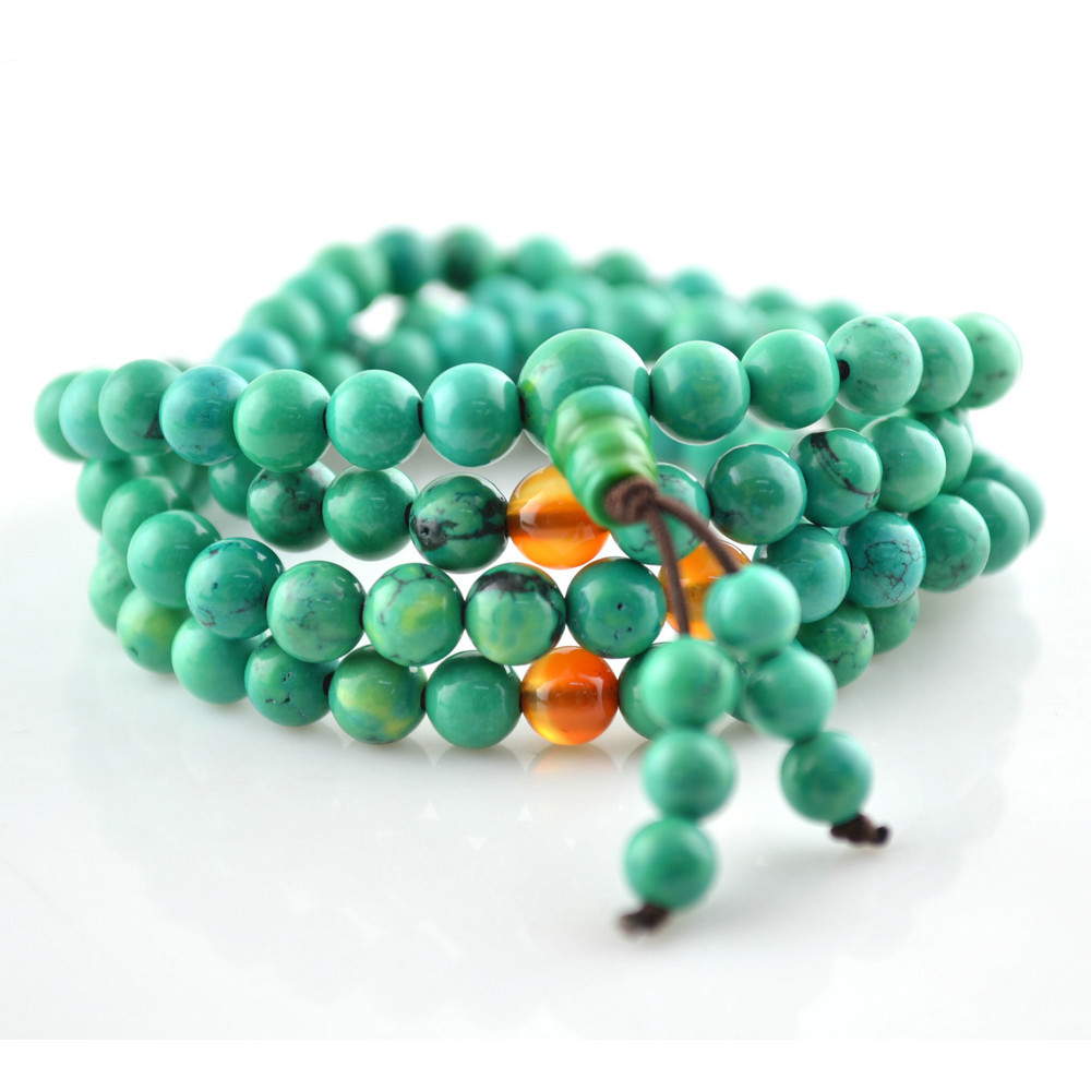 Grade AA Natural Blue Howlite 6mm 108 Beads Prayer Mala Bracelet For Fashion Women Jewelry 10pc/lot