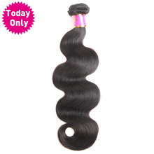 [TODAY ONLY] Peruvian Body Wave Bundles 100% Human Hair Weave Bundles Natural Black Color 100g/pc No Shedding Non Remy Hair(China)