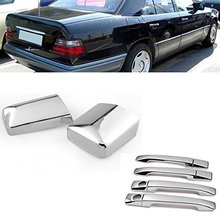 Chrome Side Door Handle + Mirror Cover Fit Mercedes W124 300E E220 E320 E500