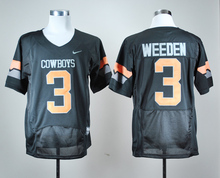 Nike Men's Oklahoma State Cowboys Brandon Weeden 3 Black Pro Combat College Jerseys Ice Hockey Jerseys M,L,XL,2XL,3XL(China)