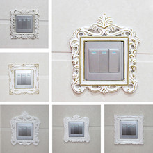 yazi Europe White Resin Switch Panel Stickers Fashion Switch Cover Decoration Socket Frame Sticker Wall Sticker