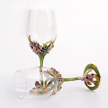 European High-grade Lead-free Crystal Wine Glass Enamel Iris Gift Goblet/ Fashion red wine glass/ Creative send Friend gift