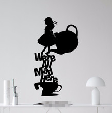 Buy Free Alice Wonderland Wall Sticker We're Mad Quote Vinyl Decal Silhouette Home Kids Bedroom Nursery Mural for $15.98 in AliExpress store