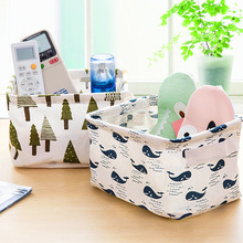 1109 fresh linen desktop storage box with handle debris basket small cabinet cloth clothing containing basket(China)