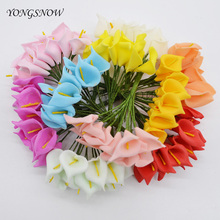 24Pcs/lot Artificial Calla Lily Fake Flowers Bouquets Real Touch PE Foam Flower Home Wedding Party Decoration Flowers Wreaths 9Z