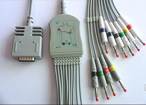 Free Shipping Compatible For Burdick EK10  Elite, Elite II  Banana 4.0 End IEC  Standard TPU Material  3.6 Meter ECG Cable <br>