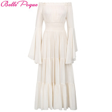 Belle Poque Gothic Maxi Dress Women Autumn Winter White Cotton Off Shoulder Wild Punk Street Evening Halloween Christmas Dresses(China)