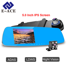 E-ACE Car Dvr Rearview Mirror 5.0 Inch Auto Camera Night Vision With ADAS LDWS Detector FHD 1080P Video Recorder Two Camera Lens