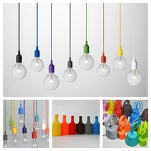 E27 Colorful Silicone Pendant Lights Edison Bulb Creative DIY Hanging Lamp Art Pendant Lamp for Bar Restaurant Kitchen