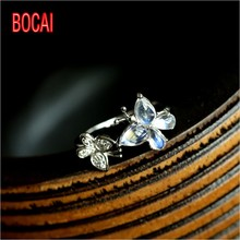 Bud / produced 925 Silver Moonstone Ring European style retro blue moon butterfly ring ring(China)