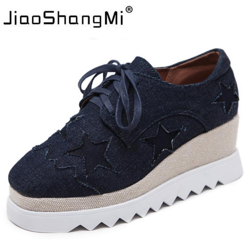 Brand Five-character Star Flat Platform Shoes Woman Denim Round Toe Lace-Up Platform Oxford Shoes Women Sneaker Fashion creepers<br>