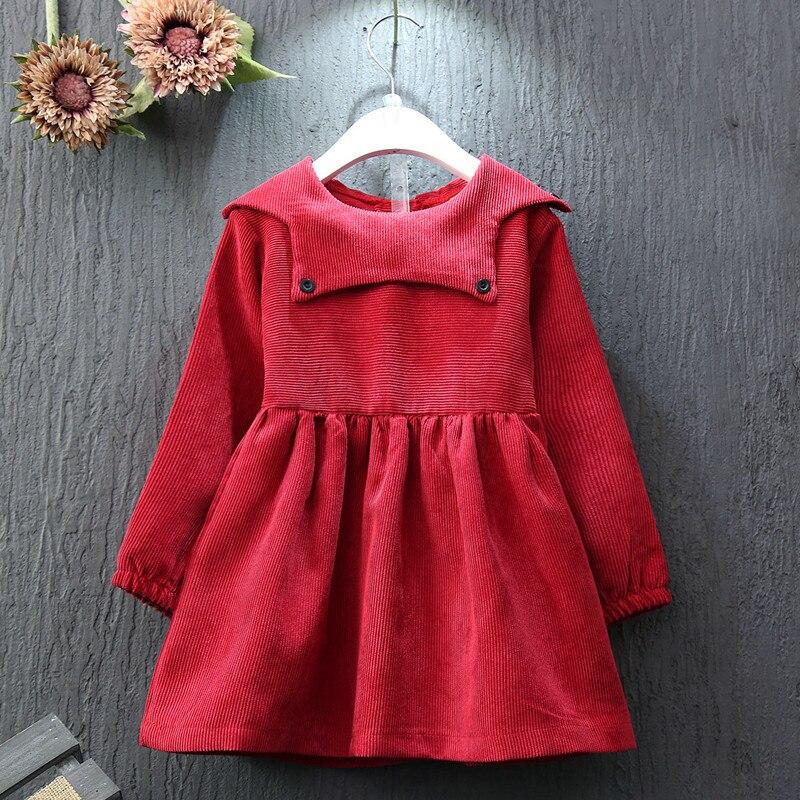 Toddler Girl Dresses 2016 Autumn New Design Soild Red Cotton Long Sleeve Button Peter Pan Collar Kids Birthday Dress 2-7Years<br><br>Aliexpress