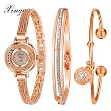 Xinge известный бренд роскошных часов женщины моды вырос браслет часы набор платье ювелирные часы дамы повседневная кварцевые наручные часы