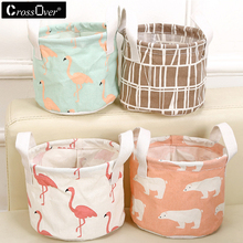 Cartoon Round Cotton Linen Desktop Storage Box Sundries Storage Organizer Stationery Cosmetic Storage Basket Container Case Fas(China)