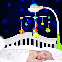0-24 months old newborn toy rotating music light Baby bed bell  hanging baby rattle bracket set baby crib mobile holder
