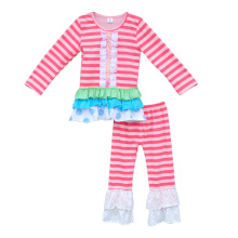 New Design Toddler Girls Outfits Stripes Newborn Baby Clothes Knitted Cotton Top Ruffle Pants Kids Boutique Remake Sets F059