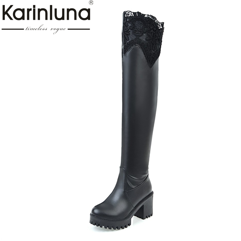 KARINLUNA 2017 Plus Size 33-45 Platform Slip On Woman Shoes Square High Heel Knee High Boots Add Fur Winter Shoe Women Black<br>