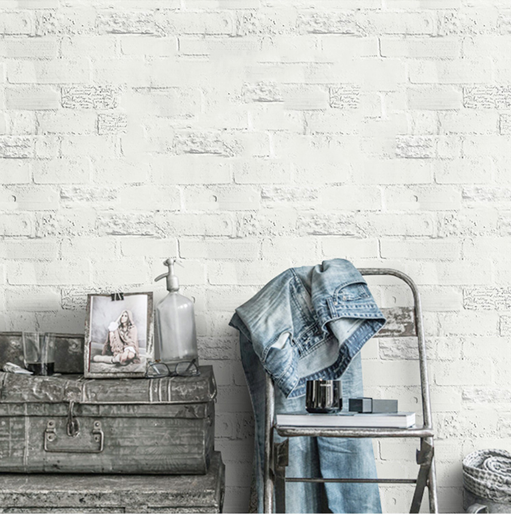 HaokHome Faux Brick Peel and Stick Wallpaper 23.6 x 19.7ft Off White Self Adhesive Contact Wall Decoration<br>