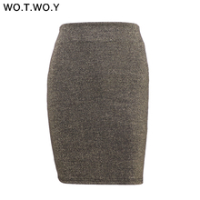 Buy WOTWOY Summer Shiny Lurex Skirt Women 2018 High Waist Mini Skirts Womens Casual Slim Fit Office Pencil Skirt Bodycon Saias Femme for $11.96 in AliExpress store