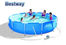 "56416 Bestway 366*76cm Frame Swimming Pool with Filter(220V)/12'*30"" outdoor Above Ground Thick Paddling Pool/Steel Frame Pool"