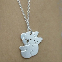 New Fashion Handmade Jewelry Koala Bear With Baby Charm Necklace Dropshipping Tiny Cute koala Pendant Necklace For Mom Gift(China)