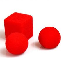10 pcs/lot Ball To Square Sponge Balls To Red Square - Magic Trick,Stage magic,Party Trick,Close Up,Fun,Illusions,Accessories
