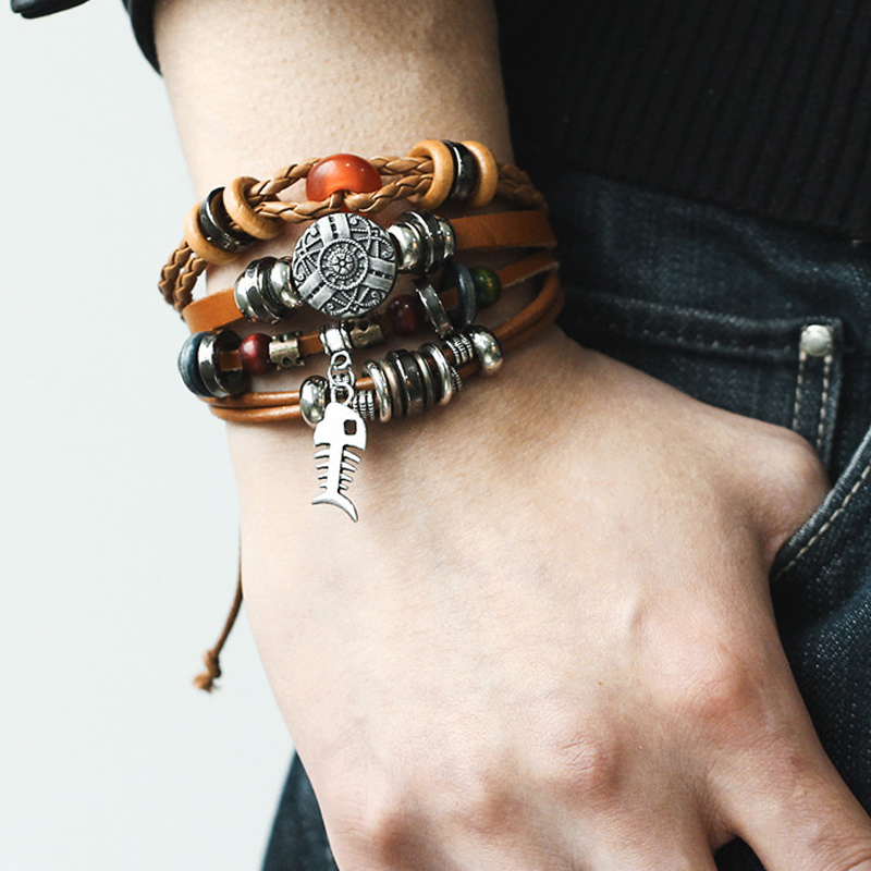 17KM-9-kinds-Design-Vintage-Multiple-Layer-Leather-Charms-Bracelets-For-Men-Women-Bracelet-Bangles-Retro