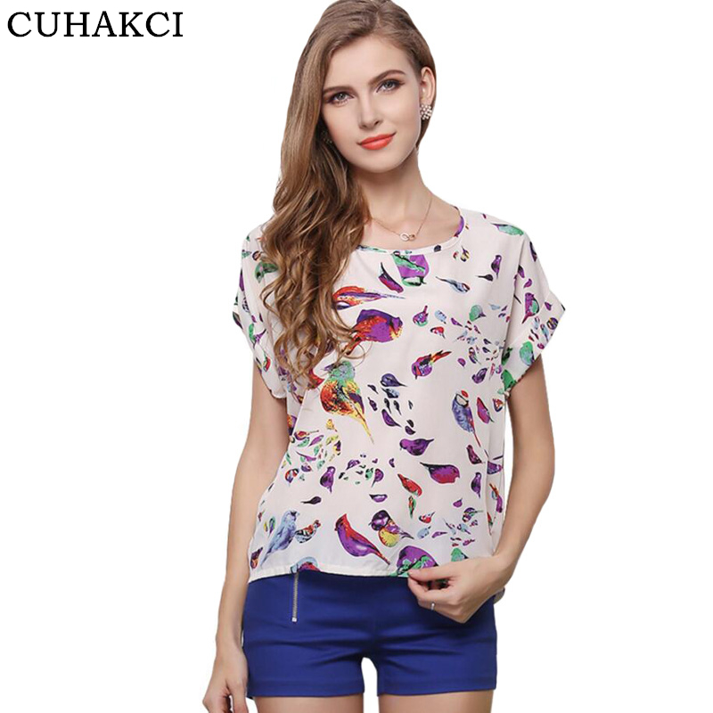 CUHAKCI Summer Women Sunflower Bird Chiffon Print Blouse Stripe Plaid Shirt Cross Love Blouse Short Sleeve Blue Lipstick Shirts(China)