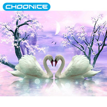 Round Diamond Painting White Swans Landscape DIY 3D Diamond Embroidery Spring Flowers Swan Wedding Decorations For Needlework