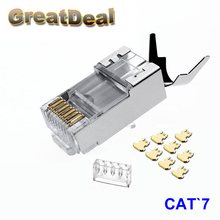 10/50/100pcs RJ45 Connector Cat6a Cat7 RJ45 plug shielded FTP 8P8C Network Crimp Connectors HY1530(Hong Kong)