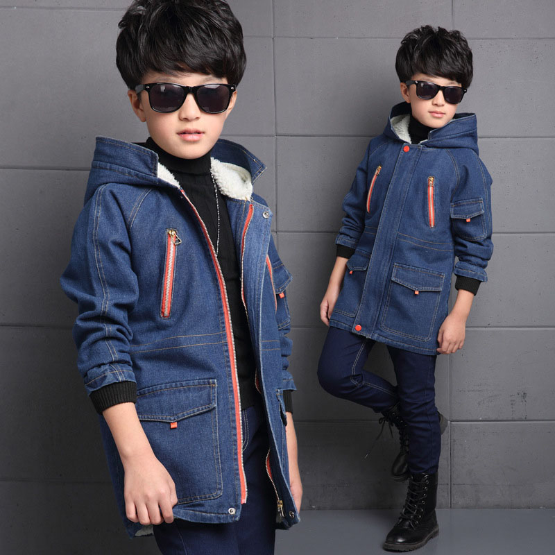 Hooded Dinem Jackets For Boys Autumn Thick Coat With Lambs Wool Inside Boys Tops Winter Children Outerwear 4 5 7 8 9 12 14 Years<br>