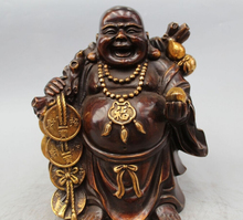 "Free Shipping 11"" Chinese Bronze Gild Wealth Frog Money bag Happy Laugh Buddha Statue"