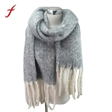 FEITONG Women's Scarf Fashion Grid Pattern Knitted Weave Winter Elegant Warm Long scraf Luxury New Designer Female Scarves Wrap(China)