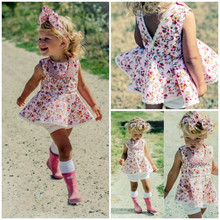 Cute V Back Summer Baby Girls Floral Mini Dress Pretty Casual  Princess Dress Summer Sun Tops Dress