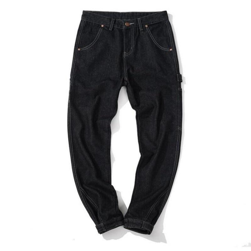 Mens Black Denim Jeans Fashion Harem Pants Baggy Casual Homme Trousers Cotton Solid Straight Jeans Hip Hop Designer Mens JeansÎäåæäà è àêñåññóàðû<br><br>
