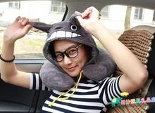 Candice guo! cute cartoon gray Totoro plush toy U shape neck pillow hooded cap birthday gift 1pc(China)