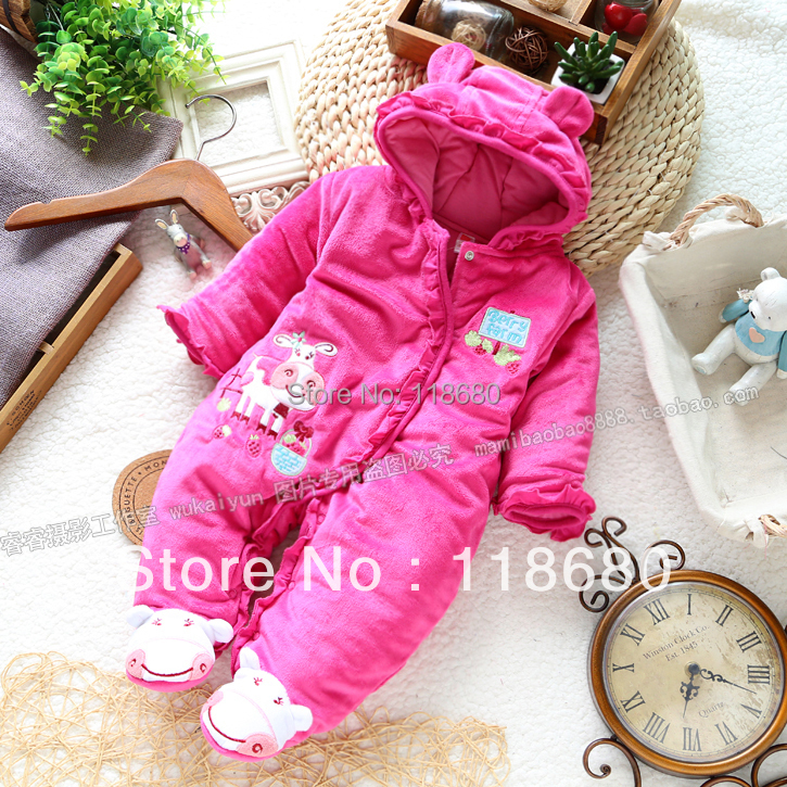 Free shipping Retail autumn winter romper baby clothing christmas baby jumpsuit newborn baby girl warm cotton overall<br>