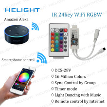 Mini Wifi RGB/RGBW+24k strip controller By Amazon Alexa Google Home Phone WIFI controller Control iOS/Androi for 5050 3528 Strip(China)