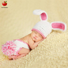 Newborn Baby Girls Photography Props Clothes Infant Crochet Knitted Cute Pink Rabbit Costume Photo Props Pants+Hats Sets Gift