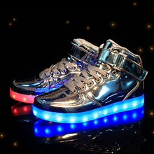 Eur25-37 // USB Charging Basket  Led High Top Children Shoes With Light Up Kids Casual Boys & Girls Luminous Glowing Sneakers