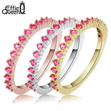 Effie Queen Beautiful Bridal Sets with Rose Red Cubic Zircon Women Finger Ring Set (3 in 1) Fashion Female Jewelry DAR046