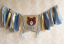 New Boy 1st Birthday Blue Line Brown Bear Inspired Highchair Banner Garland Baby Shower Photo Prop Decoration Smash Cake Flag