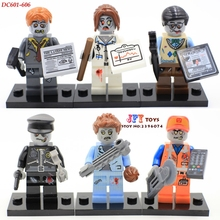 6pcs star wars super heroes zombie world The Walking Dead Series building blocks model bricks toys for children juguetes