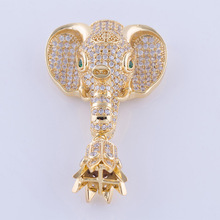 Supplies For Jewelry Unique Design Copper Paved Real CZ Beads Elephant Necklace Tassel Making Charm Pendant Jewelry Findings