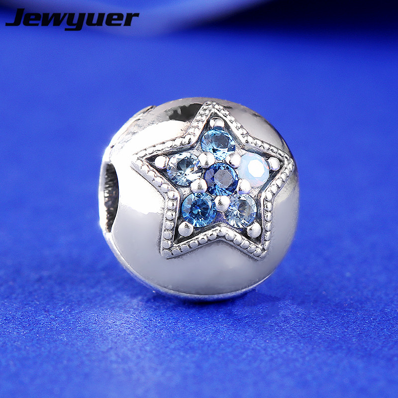 2017 New Winter collection Bright Star Clip Charms 925 sterling silver jewelry fit bead bracelets DIY gift Christmas KT085
