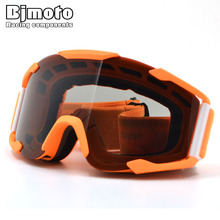 BJMOTO Flexible Goggles Smoke Lens Orange Frame Motocross Goggles Glasses Sport Helmets Off Road Gafas for Motorcycle Dirt Bike