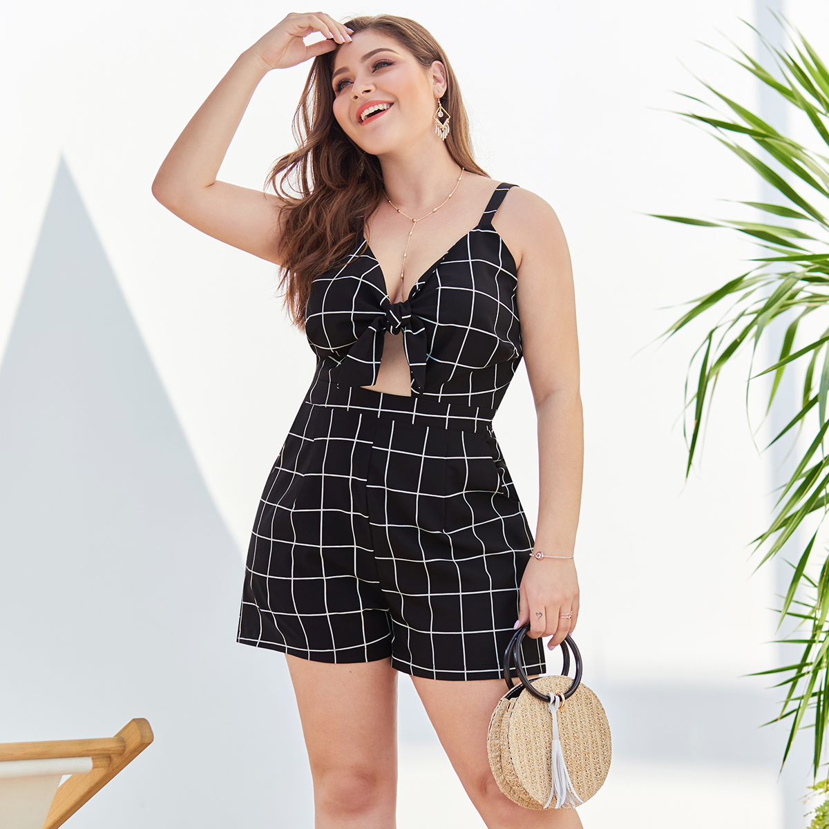2019 summer sexy womens  butterfly chest knot waist backless double pocket black and white plaid large size women's sling jumpsu