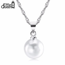 Effie Queen Elegant White Simulated Pearl Women Round Pendant Necklace For Girl Trendy Necklace Jewelry WN20